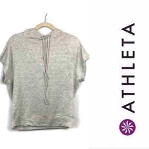 Athleta Short Sleeve Draw String Hoodie